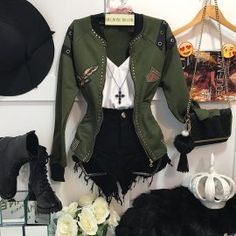 Love the jacket! Date Outfits, Grunge Outfits, Outfits For Teens, Spring Outfits, Cool Outfits, Casual Outfits, Fashion Outfits, Womens Fashion, Mode Rock