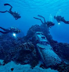 Underwater Moai Statues on Rapa Nui (Easter Island), Chile                                                                                                                                                     More