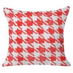 """DENY Designs Social Proper Candy Houndstooth Throw Pillow - Red (20""""x20"""")"""