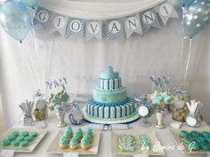 Giovanni Baptism / Bautismo de Giovanni Baptism Party, Boy Baptism, Baby Christening, Première Communion, First Communion, Mesa Dulces Baby Shower, Ideas Bautismo, Baby Birthday, Birthday Parties