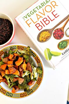 {giveaway!} Roasted Broccoli + Sweet Potato Black Rice Bowl with Sesame Miso Dressing--hop over now to win a copy of the #VegFlavorBible!!