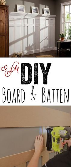 LOVE this DIY board and batten tutorial ! So cheap and so easy! - Home Decorations DIY Home Diy, Home, Cheap Home Decor, Home Improvement Projects, Board And Batten, Home Remodeling, Home Improvement, Home Projects, Remodel Bedroom