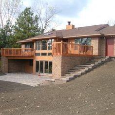 Sunken Patio, Backyard Patio, 2 Level Deck Ideas, Patio Under Decks, Egress Window, Cottage Plan, House Built, Future House, Entrance