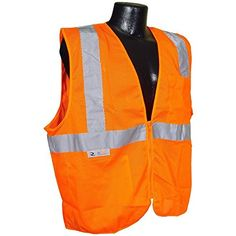 b6c60e199034f Radians 2 Pockets Mesh High Visibility Neon Orange Zipper Front Safety Vest  with Reflective Strips -