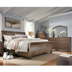 Shop Ashley Furniture Trishley Light Brown Master Bedroom Set with great price, The Classy Home Furniture has the best selection of Master Bedrooms to choose from Light Brown Bedrooms, Brown Master Bedroom, King Bedroom Sets, Wood Bedroom, Bedroom Furniture Sets, Bedroom Decor, Wicker Furniture, Furniture Stores, Queen Bedroom