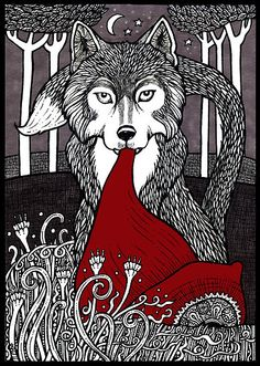Brilliant graphic #linocut!! Who's Afraid of the Big Bad Wolf? by Anita Inverarity