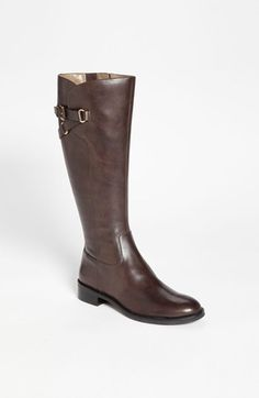 """ECCO 'Hobart Tall Strap' Boot   NordstromA zigzag strap punctuates the knee-high shaft of a classically cut boot with a flexible sole for daylong comfort. 1"""" heel height; 15"""" boot shaft height; 15"""" calf circumference adjusts to fit calf (size 37). Side zip closure. Leather upper/leather and textile lining/rubber sole."""