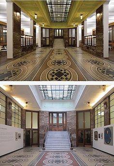 Nová (nahoře) a původní tvář vstupní haly galerie v jejím přízemí.