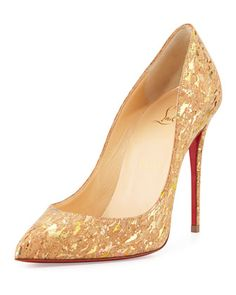 Pigalle Follies Cork 100mm Red Sole Pump by Christian Louboutin at Neiman Marcus.