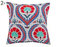 Destino: Estambul: Set de 2 cojines de algodón Pireo – rojo y lila