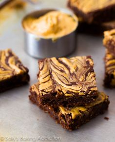 Skinny Peanut Butter Swirl Brownies ~ there is no oil, butter, or flour in these but low fat yogurt and rolled oates. And they promise to be rich and chewy and taste like chocolate, peanut butter fudge.
