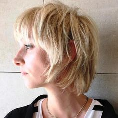 blonde short shag bob
