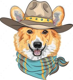 6ee7de19cab Buy Hipster Dog Pembroke Welsh Corgi by Kavalenkava on GraphicRiver. Hipster  dog Pembroke Welsh corgi breed in hat and neckerchief