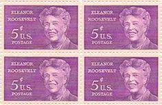Eleanor Roosevelt Set of 4 x 5 Cent US Postage Stamps NEW Scot 1236 . $4.70. One set of four (4)Eleanor Roosevelt  4 x 5 Cent postage stamps Scot #1236