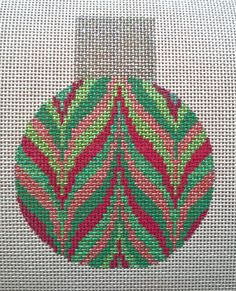 Beautiful Hand Painted HP Ornament Needlepoint Canvas 18 mesh, bargello