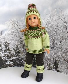 Ravelry: fairestknits' Green fair isle set for Hannah and Nellie Knitting Dolls Clothes, Doll Clothes Patterns, Girl Doll Clothes, Knitted Doll Patterns, Knitted Dolls, Knitting Patterns, Fair Isle Knitting, Hand Knitting, Ag Dolls