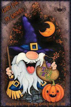 Halloween Yard Art, Halloween Painting, Halloween Projects, Halloween Ideas, Homemade Crafts, Crafts To Make, Gnome Paint, Fall Drawings, Happy Paintings