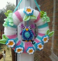 handmade garland wreath crochet flowers leaves owl bird shabby chic folk art   eBay ♡