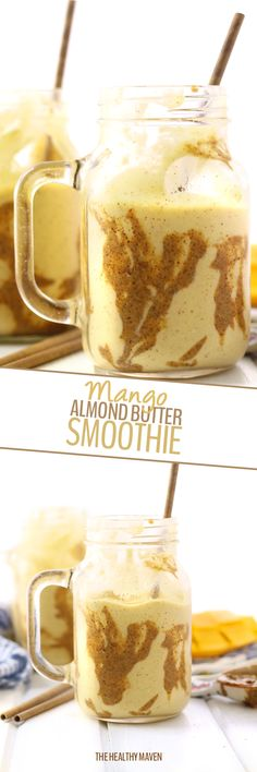 Start your day with this creamy and delicious Mango Almond Butter Smoothie. Made with frozen mango, banana, almond butter and milk and protein powder this breakfast smoothie recipe will keep you full for hours!