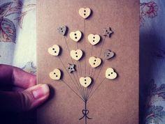Handmade Greeting Card - Button Balloon | Felt