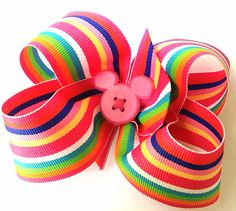 Hair bow Minnie Mouse Preppy Stripe multicolored by CreateAlley, $8.99