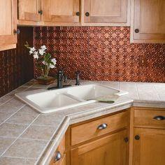 Backsplash Panels, Copper Backsplash, Mosaic Backsplash, Kitchen Backsplash, Kitchen Countertops, Beautiful Kitchens, New Kitchen, Kitchen Ideas, Kitchen Remodel