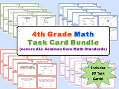 4th Grade Math Task Card Bundle - Covers all Math Common Core Standards for 4th Grade  Perfect for station work or as an engaging assessment!