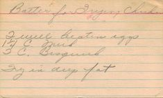 Handwritten Recipe Card For Batter For Frying Chicken (date unknown)