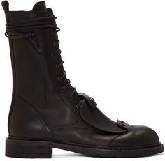 Ann Demeulemeester Shoes Men's - Black Combat Boots