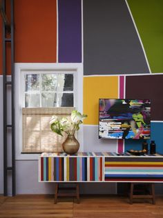Mosaic style color block with paint!  Also love the wall.
