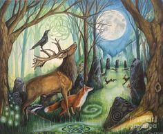Hare Print Moon Her Mother the Moon Forest Grove, Fairytale Art, Fox Art, Christmas Art, Hare, Crow, Fantasy Art, Art Drawings, Moose Art
