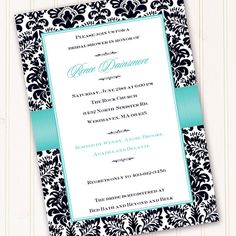 bridal shower invitation, Tiffany blue and black invitation, wedding invitation, damask invitation, black and blue. $20.00, via Etsy.