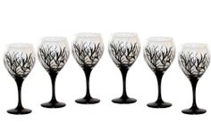 ArtisanStreet's Abstract Winter Design Balloon Wine Glasses. Set of 6. Hand Painted, Signed by Artisan. by ArtisanStreet. $120.00. Unusual glasses make a wonderful gift or buy for yourself. Abstract black design reminds one of a forest in winter. Wash with mild soap & water. Individually hand painted & made to order & signed by artisan. Set of 6 glasses. Measure 8.5 inches tall, hold 18 oz. Set of 6. Share a glass of wine with our sophisticated contemporary design ball...