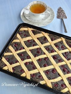 Poppy cake with cherries - Recipe Swiss Recipes, Cherry Recipes, Poppy Cake, Polish Recipes, Polish Food, Home Bakery, Lemon Cookies, Something Sweet, No Bake Cake