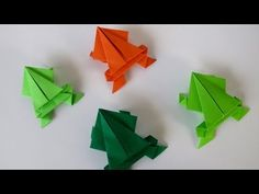 Best video on how to make an origami jumping Frog. Origami instructions for many. Chat Origami, Origami And Kirigami, Diy Origami, Origami Tutorial, Origami Paper, Origami Design, Origami Jumping Frog Easy, Easy Origami Dragon, Origami Rabbit Instructions