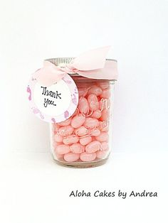 Baby Shower Favor, It's A Girl Mason Jar   Favor, Thank You Gift, Pink Baby Shower Gift Tag, Pink and White, Baby Shower   Decorations, Set of 4...