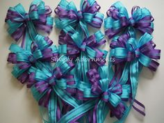Turquoise and purple wedding bows for ceremony receptions