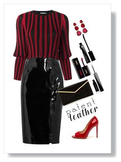 """""""Ms. Quinn"""" by patricia-dimmick ❤ liked on Polyvore featuring Topshop Unique, Sonia Rykiel, Annoushka, Givenchy, Yves Saint Laurent, blackleather, patentleather and highshine"""