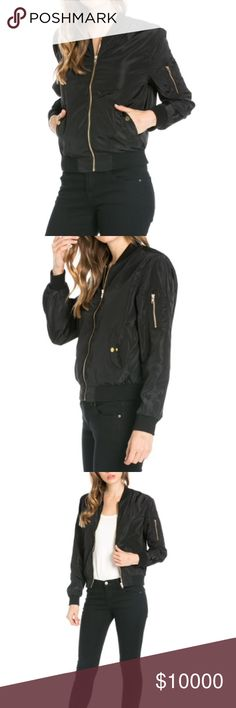 Lightweight Black Bomber Jacket 60/40 nylon/polyester. Sizes vary from small to extra large. Silver toned zipper and button accents. Kat's Boutique Jackets & Coats