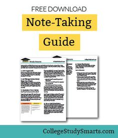 Free note-taking guide helps you with the overall process and offers short, actionable tips to make your notes effective so you know what to study. Note Taking Strategies, Note Taking Tips, College Note Taking, College Notes, School Notes, College Survival Guide, Study Skills, Study Tips, Study Habits