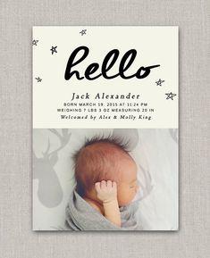 Baby Boy Geburtsanzeige Jack von announcingyou auf Etsy