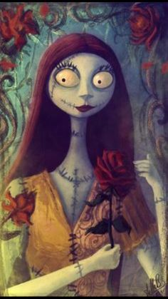 Sally with Red Roses from Nightmare Before Christmas