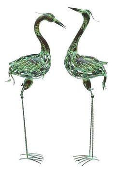 New Two Green Flamingos Set Garden Statue Characters Metal Yard Art Bird Buddies | eBay
