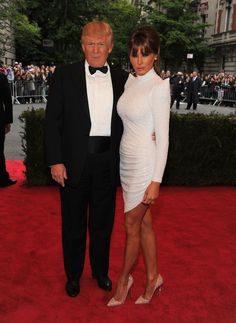 Donald Trump and Melania Trump in Marc Bouwer Couture