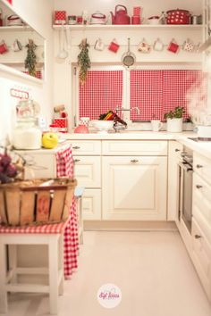 so cheerful with all the gingham in this little kitchen