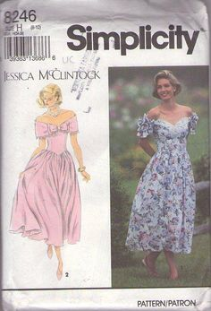 MOMSPatterns Vintage Sewing Patterns - Simplicity 8246 Vintage 80's Sewing Pattern DIVINE Designer Jessica McClintock Off the Shoulder Cuff Capelet Collar Sweetheart Neckline Garden Party Dress, Basque Waist Prom Gown Size 6-10