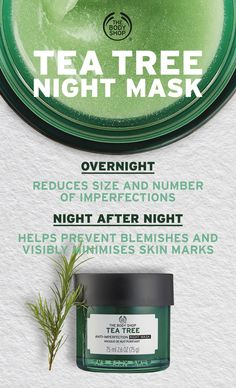 Wake up to clearer-looking skin! Our fresh and breathable Tea Tree Anti-Imperfection Night Mask is specifically formulated to care for oily skin and imperfections while you sleep. - Infused with Community Trade tea tree oil. The Body Shop, Body Shop Tea Tree, Body Shop At Home, Vinegar For Acne, Body Shop Skincare, Tea Tree Oil For Acne, Natural Cough Remedies, Cold Remedies, Natural Cures