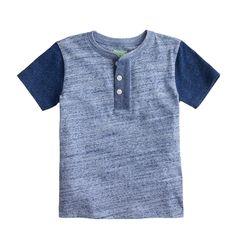 Boys' contrast-sleeve henley : henleys   J.Crew