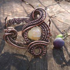 Vintage Jewelry Copper Bracelet Romantic Jewelry St.Valentine's present Wire Knitting Metal Jewelry Crochet copper wire Gothic Handmade by LileiJewelry on Etsy