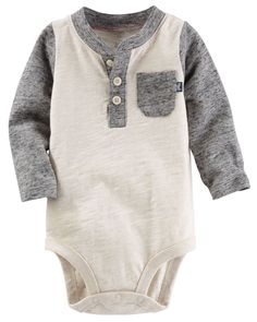 Colorblock Heathered Henley Bodysuit | Carters.com